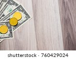 banknote with gold bar on... | Shutterstock . vector #760429024