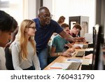 design students with teacher... | Shutterstock . vector #760431790