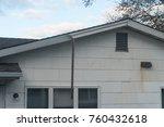 hanging piece of roofing fascia ... | Shutterstock . vector #760432618