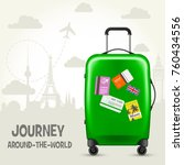 suitcase with travel tags and... | Shutterstock .eps vector #760434556