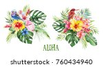 watercolor tropical floral... | Shutterstock . vector #760434940