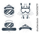 ski resort emblem and labels... | Shutterstock .eps vector #760435879