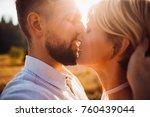 groom kisses bride tender... | Shutterstock . vector #760439044