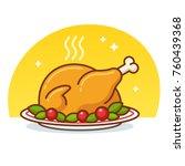 thanksgiving turkey or roast...   Shutterstock .eps vector #760439368