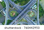 aerial view road roundabout ... | Shutterstock . vector #760442953