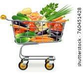 vector supermarket trolley with ...   Shutterstock .eps vector #760451428