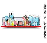vector supermarket shelf with... | Shutterstock .eps vector #760452100