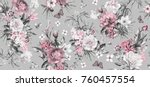 Stock photo seamless pattern with flowers and exotic leaves on gray background floral pattern for wallpaper 760457554