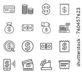thin line icon set   card  coin ... | Shutterstock .eps vector #760457623