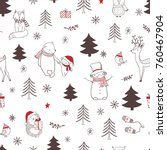 christmas seamless pattern with ... | Shutterstock .eps vector #760467904