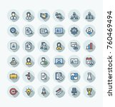 vector thin line icons set and... | Shutterstock .eps vector #760469494