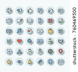 vector thin line icons set and... | Shutterstock .eps vector #760469500