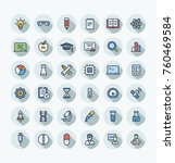 vector thin line icons set and... | Shutterstock .eps vector #760469584