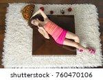 fashion women lying down with... | Shutterstock . vector #760470106