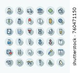 vector thin line icons set and... | Shutterstock .eps vector #760471150