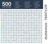 vector illustration of 500 flat ... | Shutterstock .eps vector #760471159