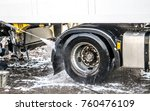 Truck washing in the open air - stock photo