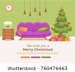 christmas room interior in... | Shutterstock . vector #760476463