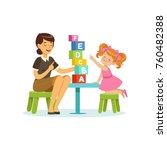 cute little girl learning... | Shutterstock .eps vector #760482388