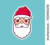 santa claus cartoon style face... | Shutterstock .eps vector #760482658