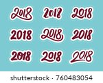 happy new year 2018. set of... | Shutterstock .eps vector #760483054