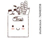 kawaii rectangular paper bag... | Shutterstock .eps vector #760483558
