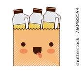 kawaii paper bag with drinks... | Shutterstock .eps vector #760483594