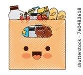 kawaii big paper bag with... | Shutterstock .eps vector #760483618