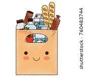 kawaii rectangular paper bag... | Shutterstock .eps vector #760483744