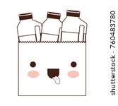 kawaii paper bag with drinks... | Shutterstock .eps vector #760483780
