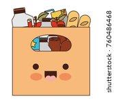 kawaii big paper bag with... | Shutterstock .eps vector #760486468