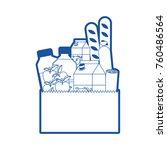 rectangular paper bag with... | Shutterstock .eps vector #760486564