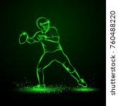 american football quarterback... | Shutterstock .eps vector #760488220