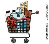 supermarket shopping cart with... | Shutterstock .eps vector #760490380