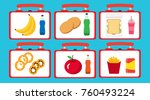 school lunch boxes set.... | Shutterstock .eps vector #760493224