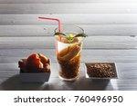 chilenian mote con huesillos... | Shutterstock . vector #760496950