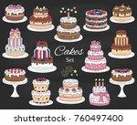 cakes set  vector hand drawn ... | Shutterstock .eps vector #760497400