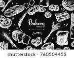 bakery shop frame . bag of... | Shutterstock .eps vector #760504453