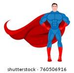 superhero standing proudly... | Shutterstock .eps vector #760506916