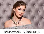 model with mysterious look.... | Shutterstock . vector #760511818