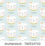 cute cat pattern vector. | Shutterstock .eps vector #760514710