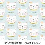 cute cat pattern vector.   Shutterstock .eps vector #760514710