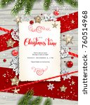holiday christmas card with fir ... | Shutterstock .eps vector #760514968