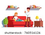 husband and wife relaxing at...   Shutterstock .eps vector #760516126