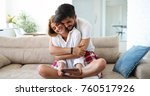 young attractive couple... | Shutterstock . vector #760517926