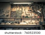 complete workbench with a wall... | Shutterstock . vector #760523530