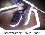 fashion sneakers. lighting... | Shutterstock . vector #760527064