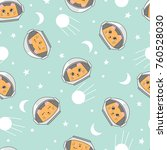 Stock vector seamless childish space pattern with cute cats astronauts 760528030