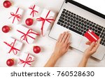female hands with credit card ... | Shutterstock . vector #760528630
