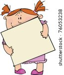 girl with blank poster | Shutterstock .eps vector #76053238
